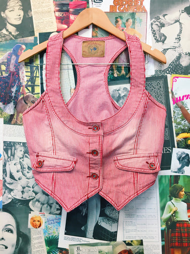Vintage 1990's Fishbone Red Pinestripe Denim Vest