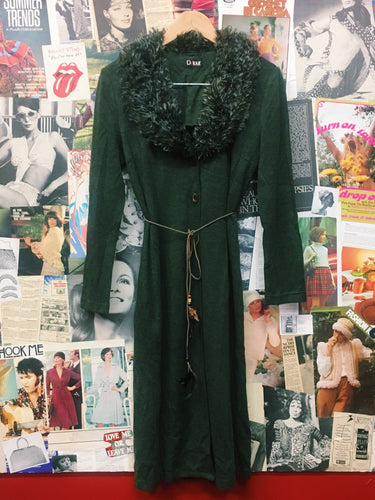 Vintage 1990's Detour Original Khaki Green Duster Faux Fur Collar & Feather Belt