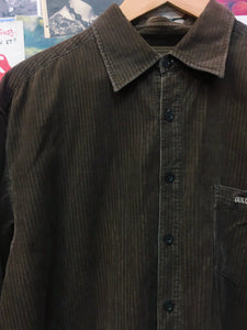 2000s y2k Chocolate Brown Corduroy Shirt