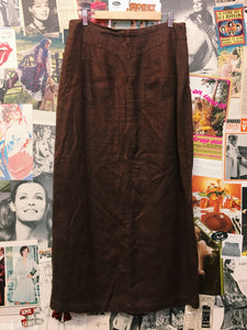 Linen Chocolate Brown Button-up Maxi Skirt