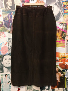 Corduroy Chocolate Brown Button-up Maxi Skirt