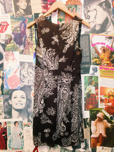 Vintage 1990's Designer Country Road Brown Satin Floral Paisley Sun Babydoll Dress