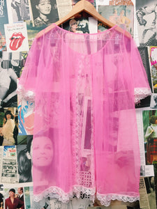 Vintage Retro Neon Pink Lace Trim Sheer Mesh Gown