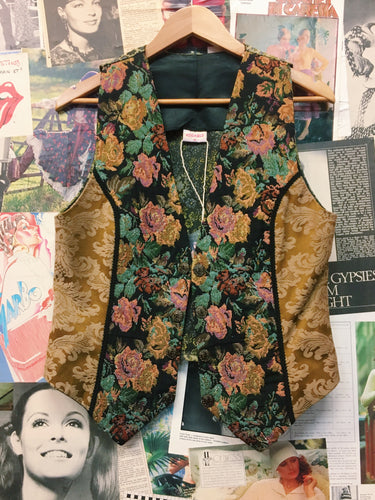 Vintage Retro Addible Patchwork Satin Floral Jacquard Tapestry Vest