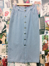 Vintage Striped Denim Button-up Maxi Skirt