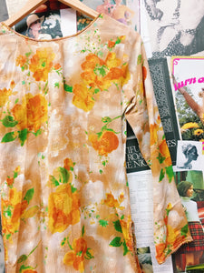 Bright Orange Floral Sheer Mesh Kaftan