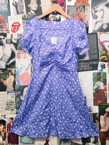 Free People Satin Lilac Floral Babydoll Dress