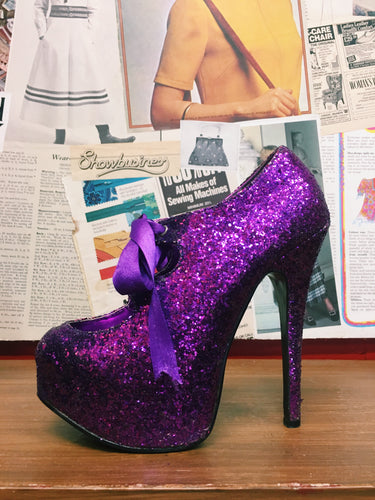 Sin City Teeze by Bordello in Purple Glitter Platform Stiletto Burlesque Style