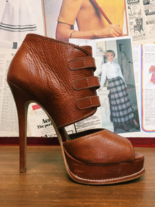 Chunky Platform Brown Leather Strappy Heels