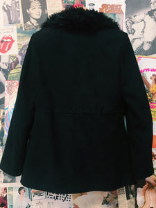 Black Faux Fur Collar Coat