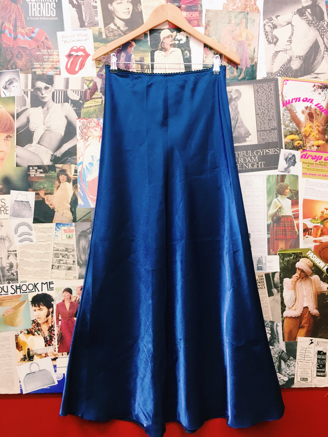 Royal Blue Metallic Maxi Skirt