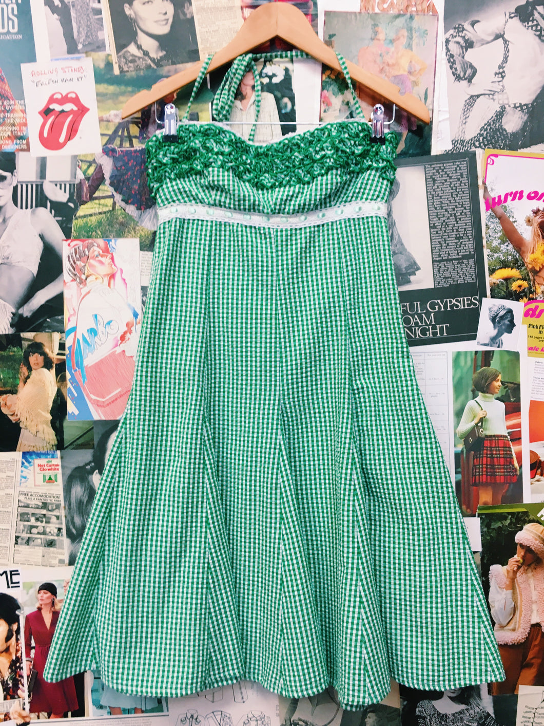 Pin-up Style Green Gingham Frilled Halter Neck Dress