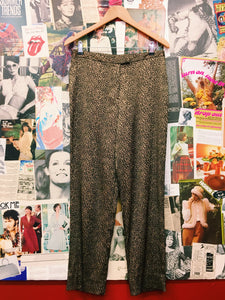 Metallic High Waist Leopard Print Slacks