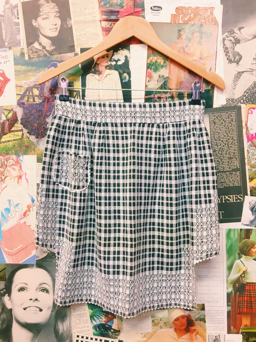 Gingham Plaid Embroidered Apron