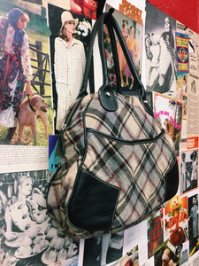 Cue Plaid Handbag w/ Leather Details