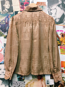 Vintage Tan Silky Blouse w/ Puffy Shoulders