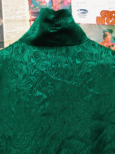 Retro Emerald Green Swirl Print Silky Blouse w/ Button up Collar