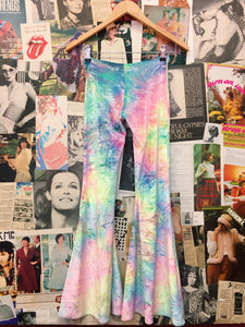 Little Black Diamond Rave 'Bubble Tie Dye Velvet' Yoga Flares w/ Suspenders