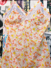 Vintage 1960s Embassy Orange Flower Power Floral Print Lace Slip