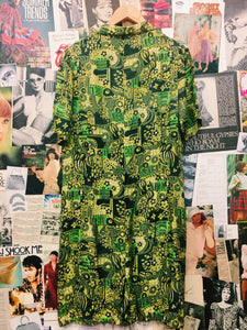 Neon Green Fun & Floral Silk Shirt Dress