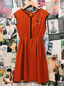 Vintage Orange Embroidered Sailboat Dress