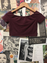 Basic Burgundy Off the shoulder Crop Top