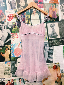 Baby Pink Frilled Sheer Netted Chemise