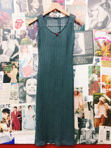 90's She Thing Knitted Sheer Delicate  Dress w/ Frills & Rose