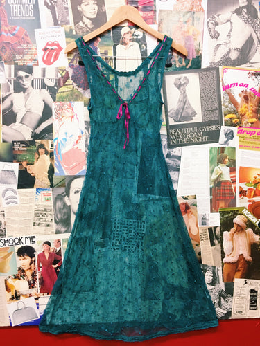 Sea Green Sheer Lace Dress w/ Floral Embroidery