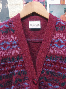 Vintage 1970's Scottish Pink Cosby Style Wool Knit Vest