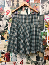 Vintage Luxury Designer Laura Ashley Plaid Tartan Wool Blend Skirt