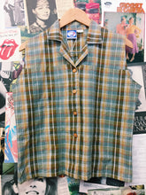 90's Olive Green Plaid Collared Shirt