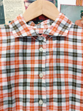 90's Linen Blend Orange & White Plaid Shirt