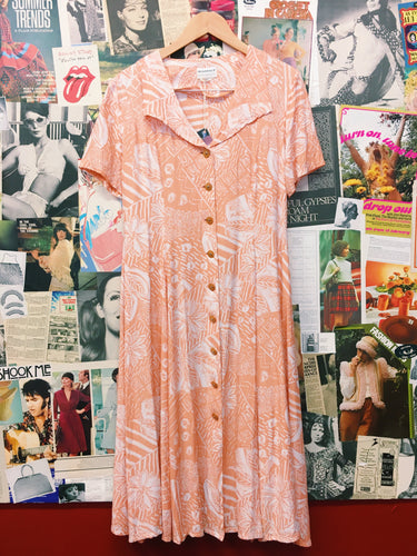 Vintage 80's Scandals Peach Floral Collared Maxi Dress