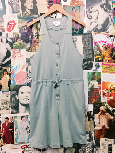 Vintage 1990s Vivianne's Collection Mint Green Button-up Drawstring Racerback Overalls