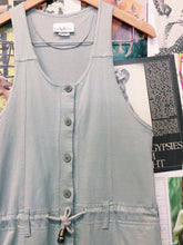 Vintage 1980's Vivienne's Collection Mint Green Button-up Drawstring Racerback Overalls