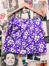 y2k Purple Hawaiian Print Tie-up Wrap Skirt