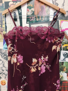 Floral Burgundy Wine Lace Sheer Slip Dress