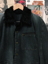 Japanese Designer Comme Ca Ism Grey Denim Faux Fur Collar & Cuffs Trucker Jacket