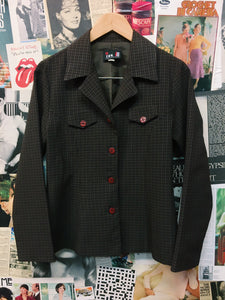 Vintage 1990s IN Brown Plaid Check Tailored Jacket