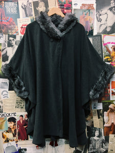 Grey Fleece Faux Fur Collar & Cuff Poncho Winged Cape Coat