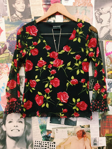 Red Roses Bell Sleeve Mesh Top