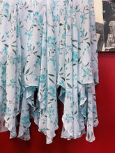 Baby Blue Floral Handkerchief Draped Maxi Dress with Cowl Neckline