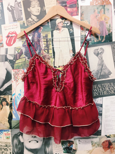 Romantic Red Satin Frilled Keyhole Cami