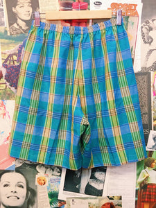 Green, Blue & Yellow Plaid Culotte Shorts