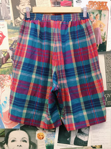 Tartan High Waist Knee-Length Cotton Culotte Shorts