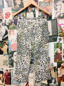 Designer Together White Leopard Print High Waist Culotte Pants