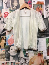 Vintage 1960s Olympic Knitwear White Short Sleeve Crochet Knit Cardigan