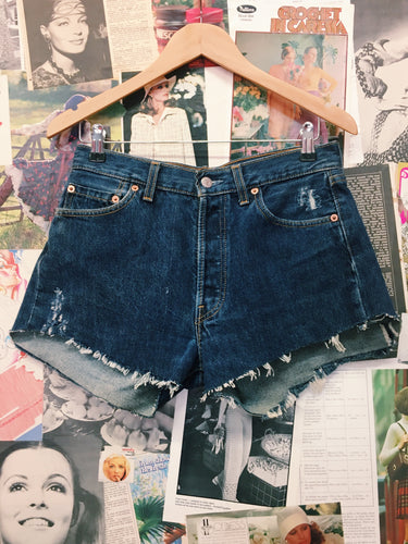 Levi's 501 Dark Blue Denim Frayed Shorts
