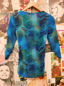 90's Psychedelic Glitter Neon Blue Top